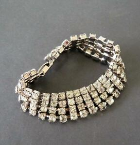 Vintage Rhinestone Link Bracelet Sparkly Jewel Tones