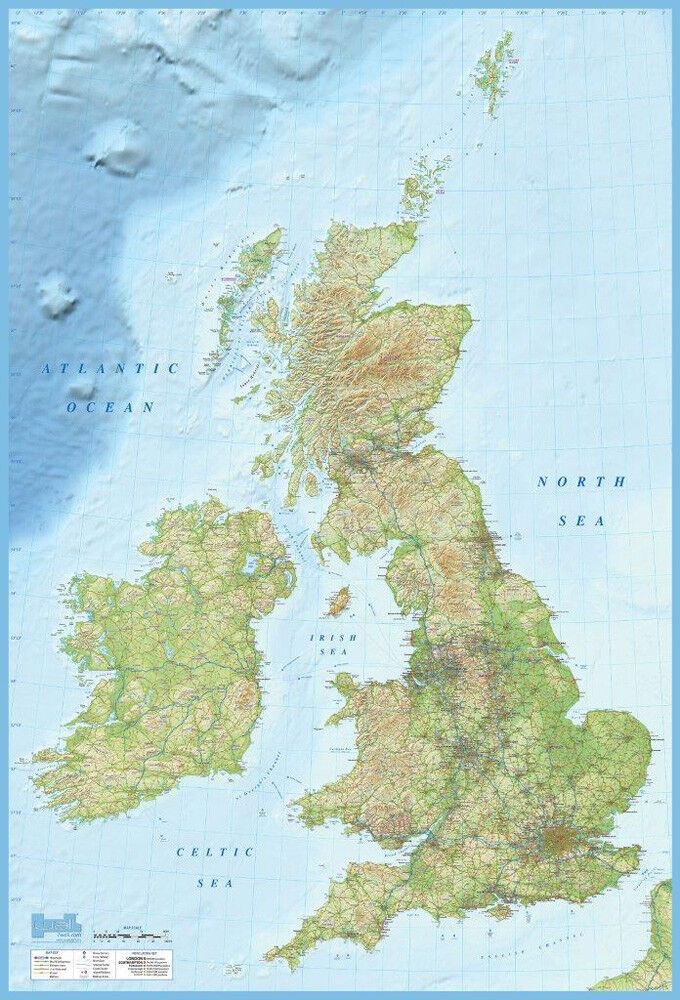 Gross Britanien Landkarte englisch Foto-Tapete 2-teilig Fototapete 232x158cm