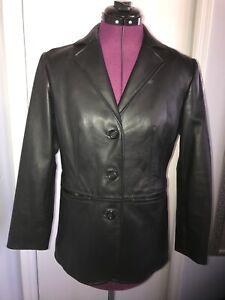 Preston-amp-York-PETITE-SMALL-Black-Button-Up-Lamb-Skin-Leather-Blazer-Jacket-EUC