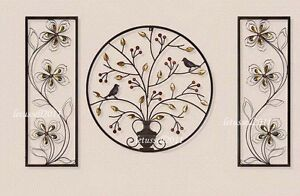 Details About Large Metal Wrought Iron Wall Art Decor Jeweled Birds Tree Flower Rack