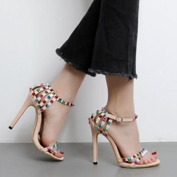 Sandalen Absatz 12.5 Elegant Stilett Beige Bunt Leder Kunststoff Cw415
