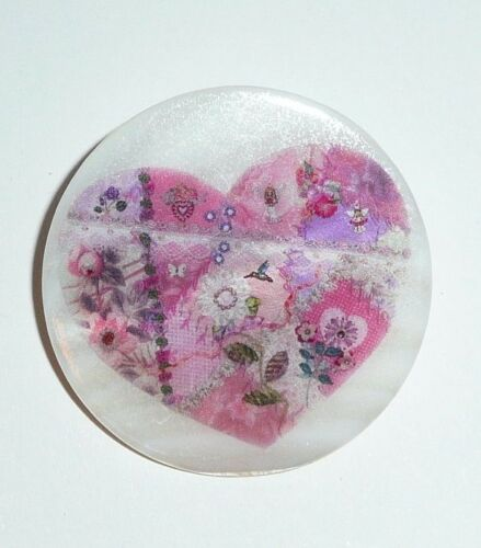 """Pink Crazy Quilt Heart Button on Mother of Pearl MOP Shank Button 1+3//8/"""""""