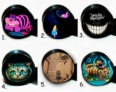 Select 1 pair Cheshire Alice in wonderland ear gauges tunnel screw back plug