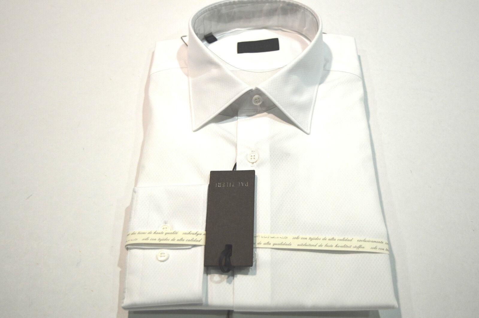 NEW  PAL ZILERI  Weiß Dress Shirt  Größe 17 Us 43 Eu Made In  (Cod C)