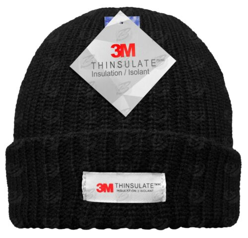 THINSULATE HAT Fleece Lined Work Ski Beanie Knitted Hat 3M ... e9cbc0b6649