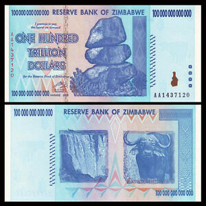 Image Is Loading Zimbabwe 100 Trillion Dollars Aa 2008 Series P