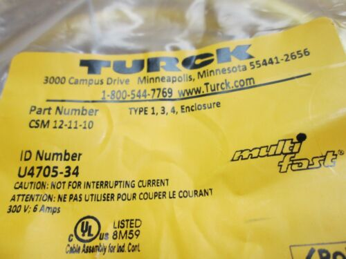 300V 6A 10m Turck CSM 12-11-10 Cordset Cable M23 12-Pin Male to Flying Leads