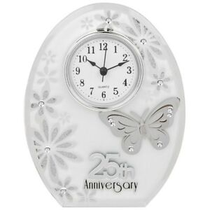 Image is loading 25th-Wedding-Anniversary-Clock-25-years-of-Marrage-  sc 1 st  eBay & 25th Wedding Anniversary Clock 25 years of Marrage Silver ...