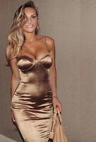 Gold Satin Push Up Cross Back Midi Bandage Dress Boutique Size S-XL Celeb Style