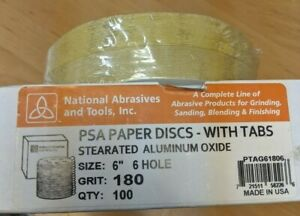 """100 Pack 6/"""" Inch 60 Grit Gold Peel and Stick Adhesive Backed PSA Sanding Discs"""