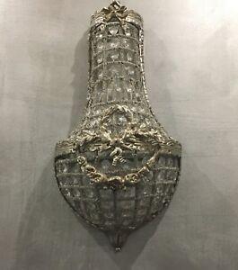 Lampe-Applique-Murale-Cristaux-Pampilles-Cristal-Glamour-Baroque-Metal-Argente