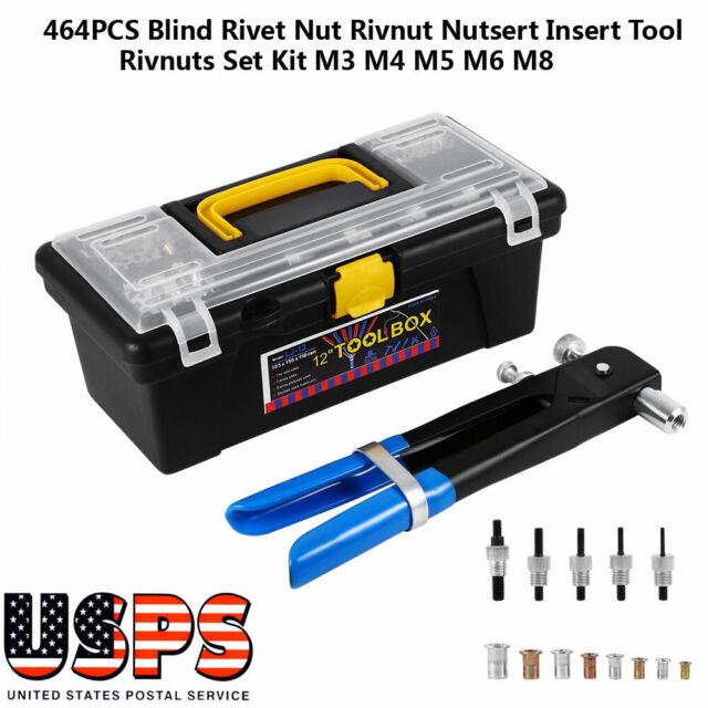 86pcs//set M3-M8 Blind Rivet Nuts Threaded Insert/& Flat Head Nutsert Riveting Gun