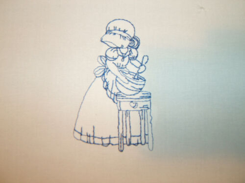 Simple Day Sunbonnet Girl Machine Embroidery Quilt Blocks  Set of 10 Redwork