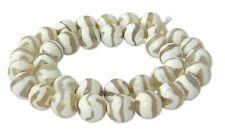 Achat DZI Beads weiße facet. Kugeln 10 mm Wellenmuster Perlen Strang ACHA-21