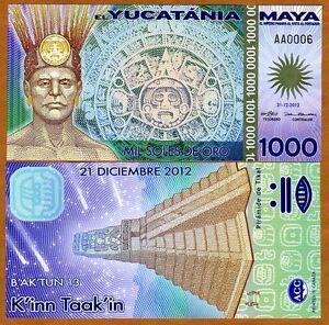 2012 Yucatania 1000 Soles de Oro UNC Polymer ~ Priced Right!