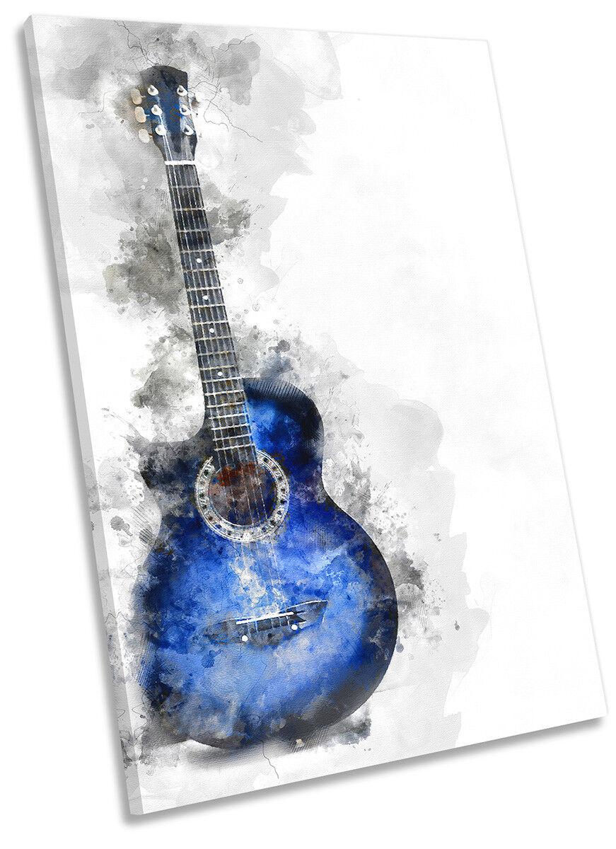 Blau Guitar Music CANVAS WALL ARTWORK Portrait Print Art