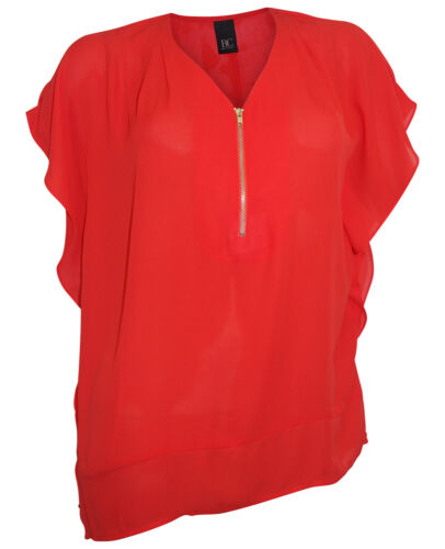 Tunika Best Connections Gr 38 rot Bluse Zip weite Longbluse Georgette Bluse
