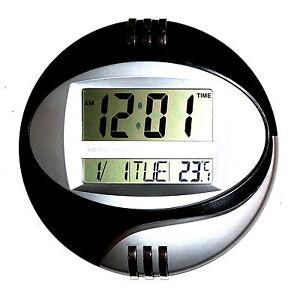 design digital uhr wanduhr chrome 12 24 stunden datum kalender alarm timer snoze ebay. Black Bedroom Furniture Sets. Home Design Ideas