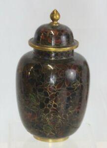 """7"""" Vintage Chinese Cloisonne Temple Jar/Ginger Urn Lid Blue Enamel Floral Jingfa"""