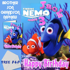 finding nemo  personalised birthday card son brother nephew, Birthday card