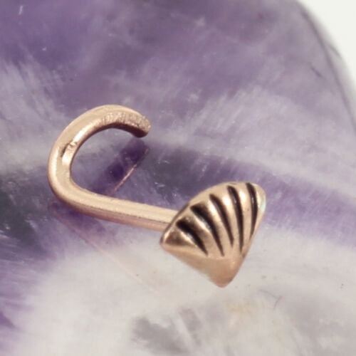 Curved Nose Stud Screw Rose Gold Plate On 925 Silver Shell Motif 5mm New 0.8mm