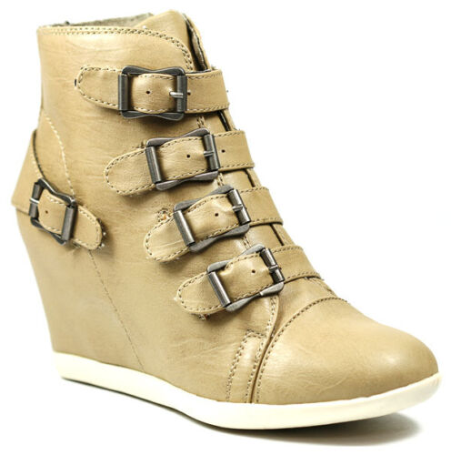 Taupe Beige Faux Leather High TopBuckle Straps Fashion Wedge Sneakers Boots
