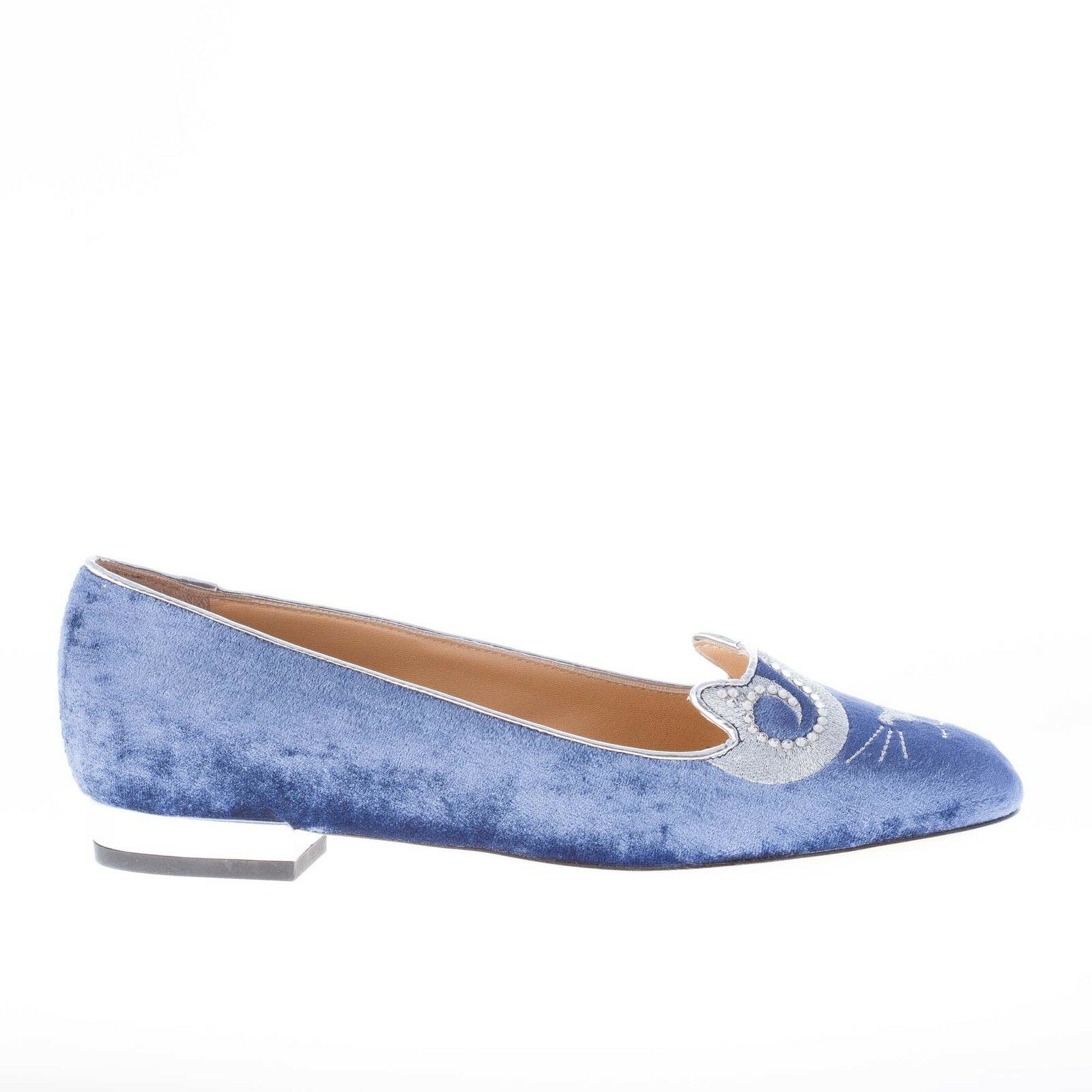 CHARLOTTE OLYMPIA women shoes King blau velvet slip on King shoes Kitty flat with crystals 8af5e9