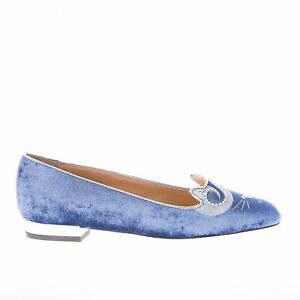 CHARLOTTE-OLYMPIA-women-shoes-Blue-velvet-slip-on-King-Kitty-flat-with-crystals