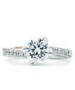0.57 Ct Round Moissanite Engagement Bridal Ring 18K Solid White Gold ring Size 4