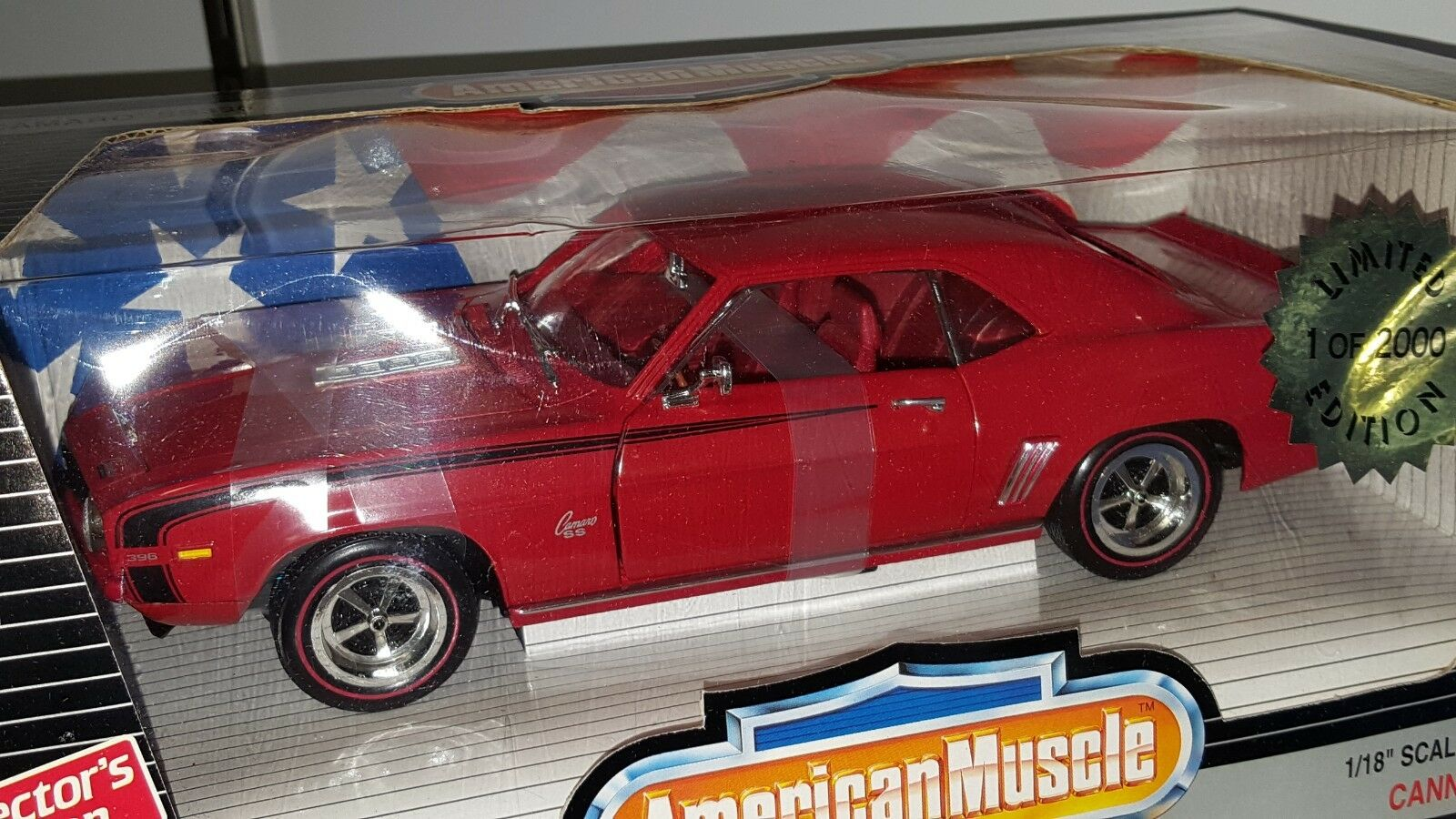 1 18 ERTL AMERICAN MUSCLE CANNADAY'S HOBBY 1969 CHEVROLET CAMARO SS396 rosso od