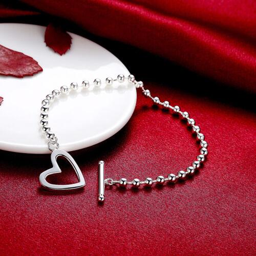Elegant 925 Sterling Silver SF Heart Ball Link Charm Bracelet Bangle BL-A355
