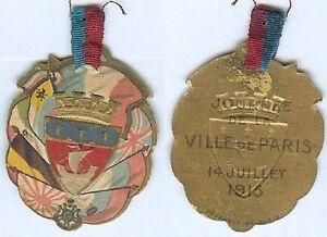 Insigne-de-journees-14-18-Melle-VIGREUX-14-juillet-1915-PARIS-armes-ovale