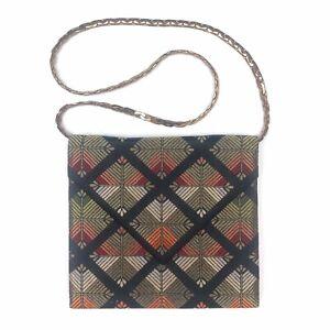 Vintage-1970s-Diane-Love-Envelope-Evening-Clutch-Purse-Handbag-Gold-Metal-Strap