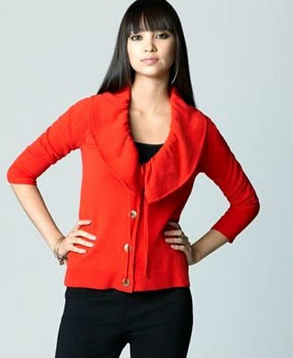Rachel Roy Cardigan Sweater Red Ruffle Shawl Collar Wool Blend Size S NWT