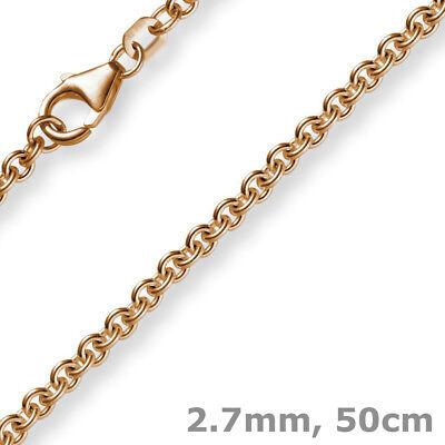 2,7mm Kette Collier Rundankerkette Aus 750 Gold Rotgold, 50cm Unisex, Goldkette üBerlegene (In) QualitäT