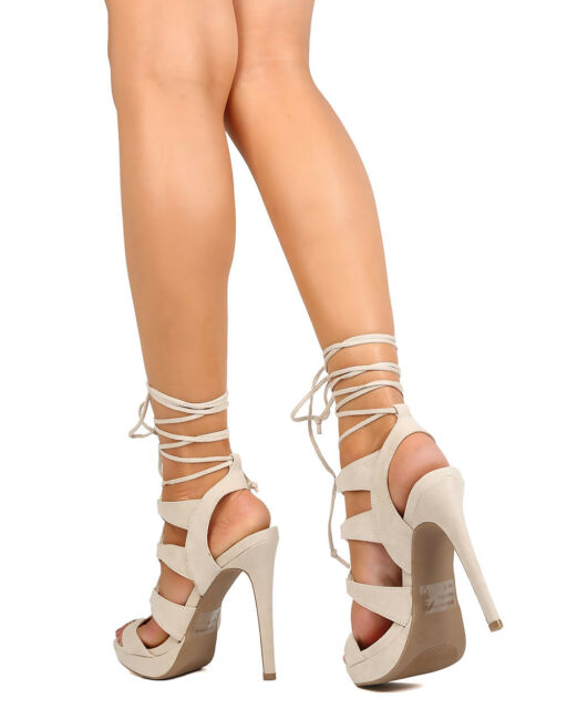 New Women Wild Diva Madden11 Faux Suede Strappy Lace Up Platform Stiletto Sandal