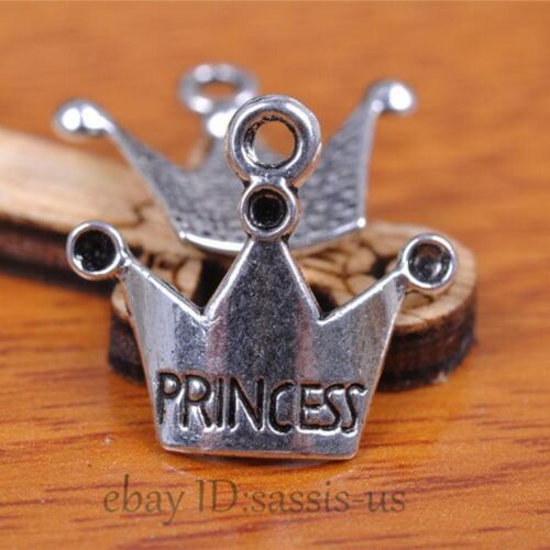 60Pieces 18mm Charms Princess Crown Pendant Tibet Silver Bronze DIY Jewelry bail