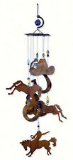 "24"" Rustic Horsing Around Wind Chime, Bronco, Horses, Horseshoes, Cowboy Hat"