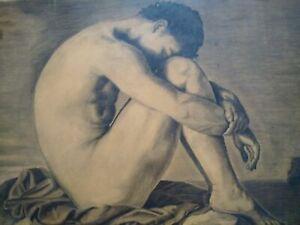Grand-dessin-nu-masculin-XIXeme-homme-etude-academique-tableau-melancolie