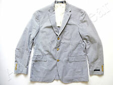 Ralph Lauren Polo Italy Cotton Seersuckr Blue Stripe Sport Coat Jacket Slim 42 L