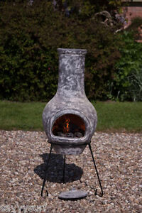 Image Is Loading Clay Chimenea Grey Chiminea Patio Heater Fire Pit