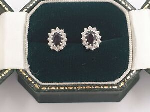 Fine-Oval-Cut-Sapphire-and-Diamond-Stud-Earrings-9ct-Gold-Cluster-10mm-x-7mm