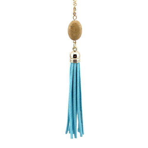 New Gold Plated Chain Natural Stone Oval Long Gray Brown Tassel Pendant Necklace