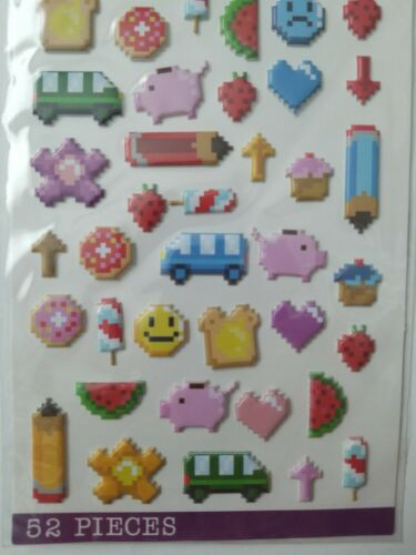 Sticko Everyday Stickers Puffy Pixel Art 52 Pcs dimensional stickers