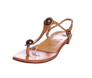 Christian-Louboutin-Brown-Leather-Flat-Metal-Embellished-Sandals-US-9