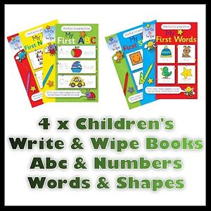 4-CHILDREN-039-S-MY-FIRST-WRITE-AND-WIPE-FUN-PRACTICE-BOOKS-ABC-NUMBERS-WORDS-SHAPES