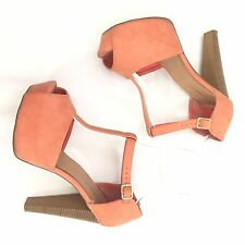 Women Fashion T-Strap Peep Toe Platform Sandals Chunky High Heel Shoes 11 Coral