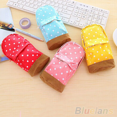 Lovely Cute Mini School Bag Pen Case Students Canvas Pencil Case Cosmetic Bag
