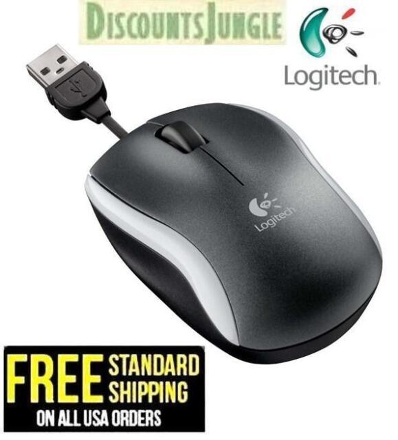 Logitech M125 3-Button USB Optical Mouse W/ Retractable Cord (Silver)