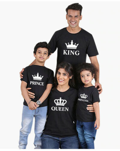 Details about  /Youth/'s Prince and Princess Matching Children/'s Soft Cotton Crew T-Shirts